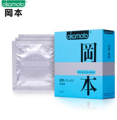 正品冈本超润滑3只装避孕套 SKIN系列安全套套 成人用品一件代发