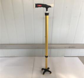 厂家直销可调节金色铝合金手杖,拐杖,四脚手杖