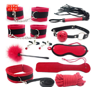 成人用品情趣毛绒套装 热卖红色黑色十件套