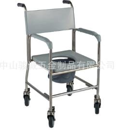 不锈钢医护辅助康复马桶椅老年人孕妇四轮