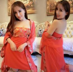 高端大唐网纱裹胸裙古装新娘性感睡裙