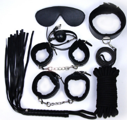 黑色情趣7七件套装加厚毛绒皮革成人玩具