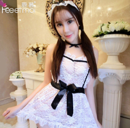 7913霏慕 性感透视蕾丝围裙女仆角色扮演制服诱惑情趣套装
