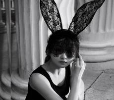 情趣配饰摄影舞会黑色蕾丝眼罩面纱带兔子耳朵发夹发卡发箍