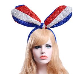 亮色国旗红蓝白欧美流行兔耳朵发箍发夹发卡